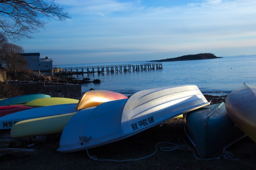 March 3, 2016 sun reflecting on the kayaks